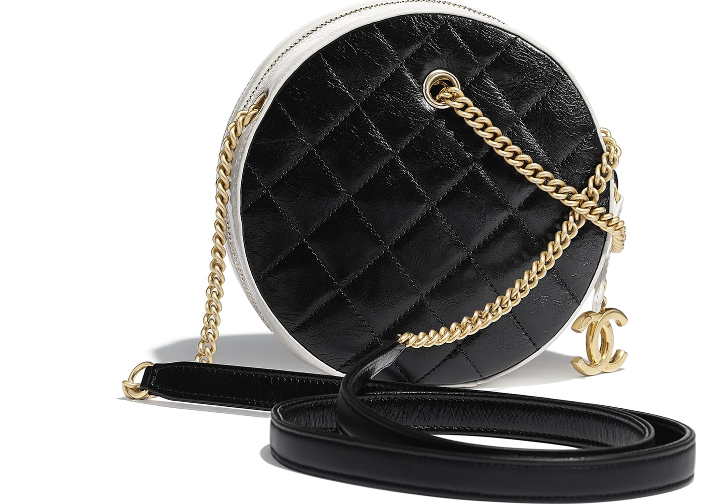 c9a2ffade64f Chanel Round Bag Crumpled Calfskin Gold-tone Small Black White