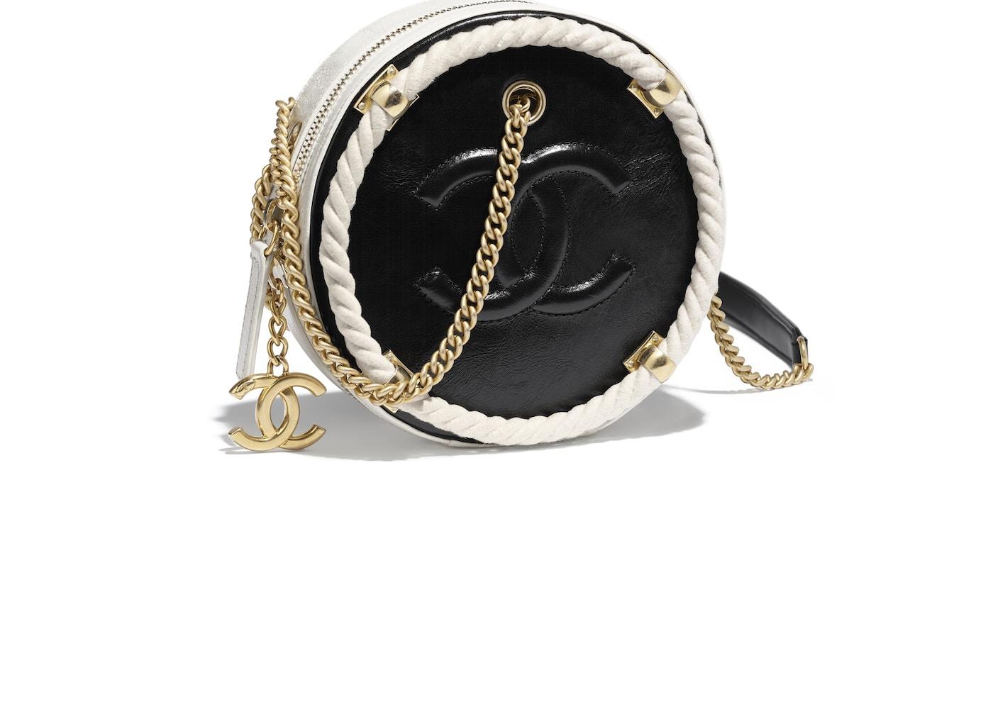 6d7b6d650c745b Chanel Round Bag Crumpled Calfskin Gold-tone Small Black/White