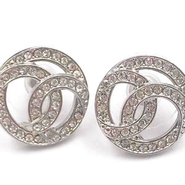 Chanel Round CC Crystal Earrings Silver