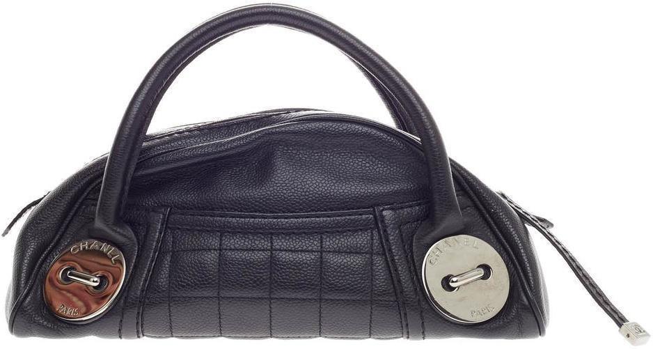 Chanel Button Satchel Dome Small Black