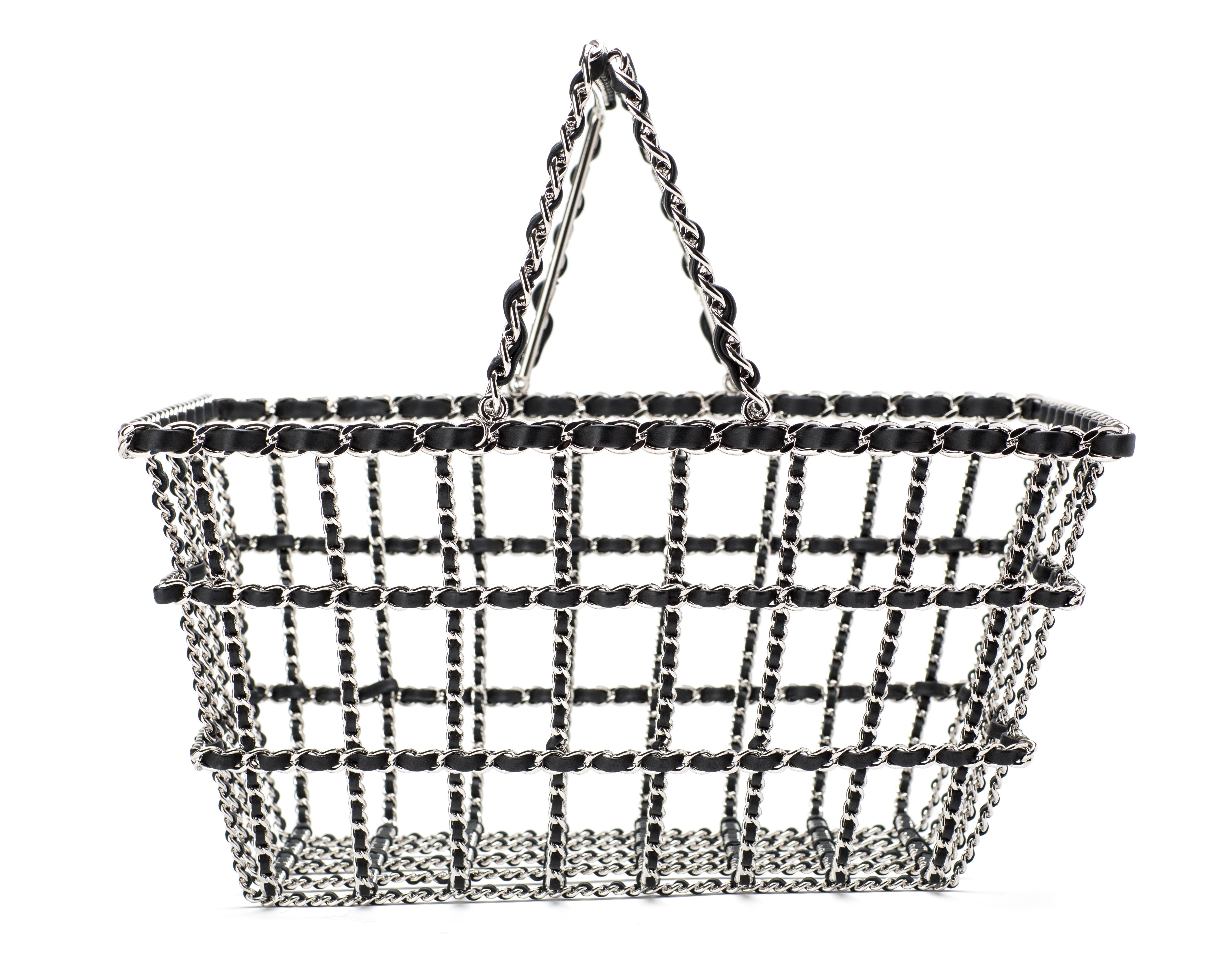 Chanel Shopping Basket Calfskin Silver Black