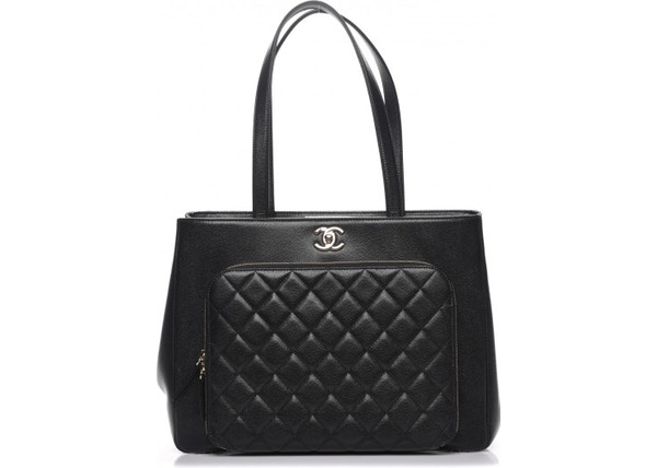 9df0f3036178c8 Chanel Business Affinity Shopping Tote Quilted Caviar Gold-tone Large Black