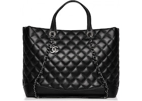 6c9c9b4c03df Chanel Easy Shopping Tote Quilted Diamond Large Black