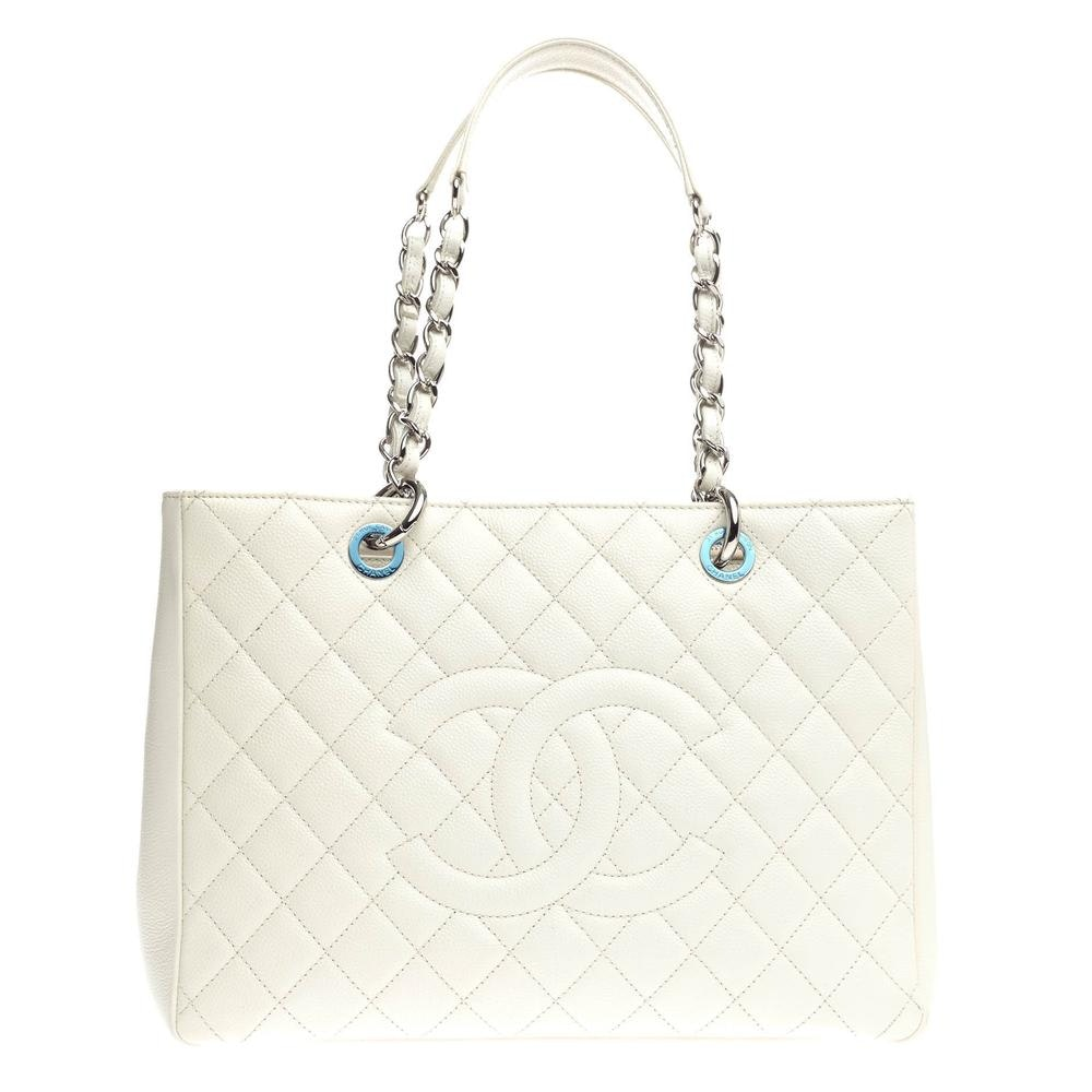 Chanel Shopping Tote Quilted Diamond Grand White