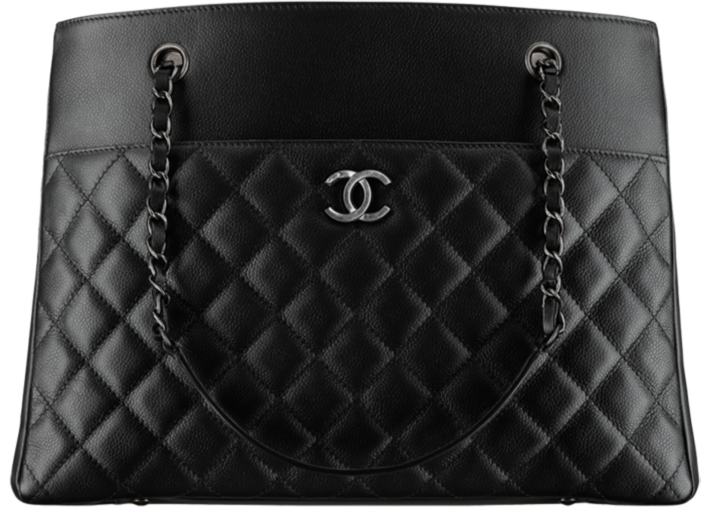 144417bd38a9 Sell. or Ask. View All Bids. Chanel Zipped Shopping Tote Diamond Quilted  Grained Large Black