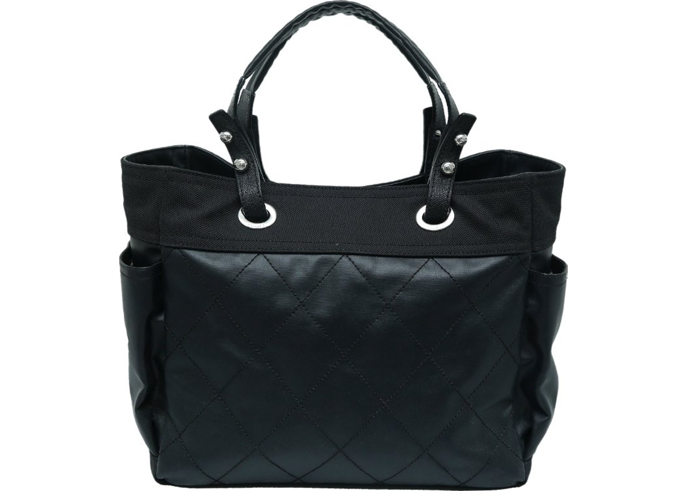 67e92fd00177 Chanel Shopping Tote Paris Biarritz Quilted Coated Grand Black