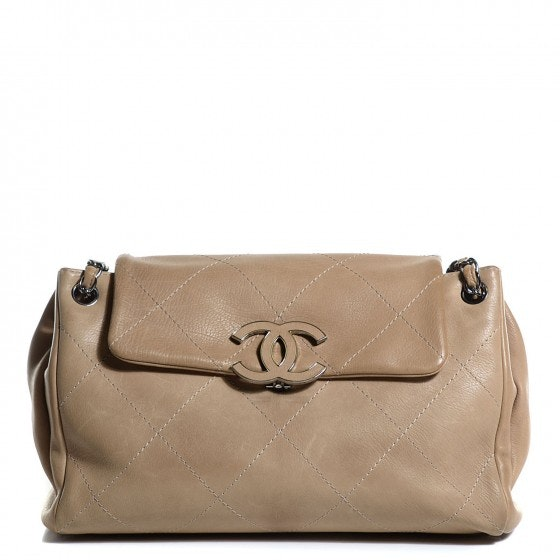 Chanel Shoulder Flap Hampton Quilted Large Beige
