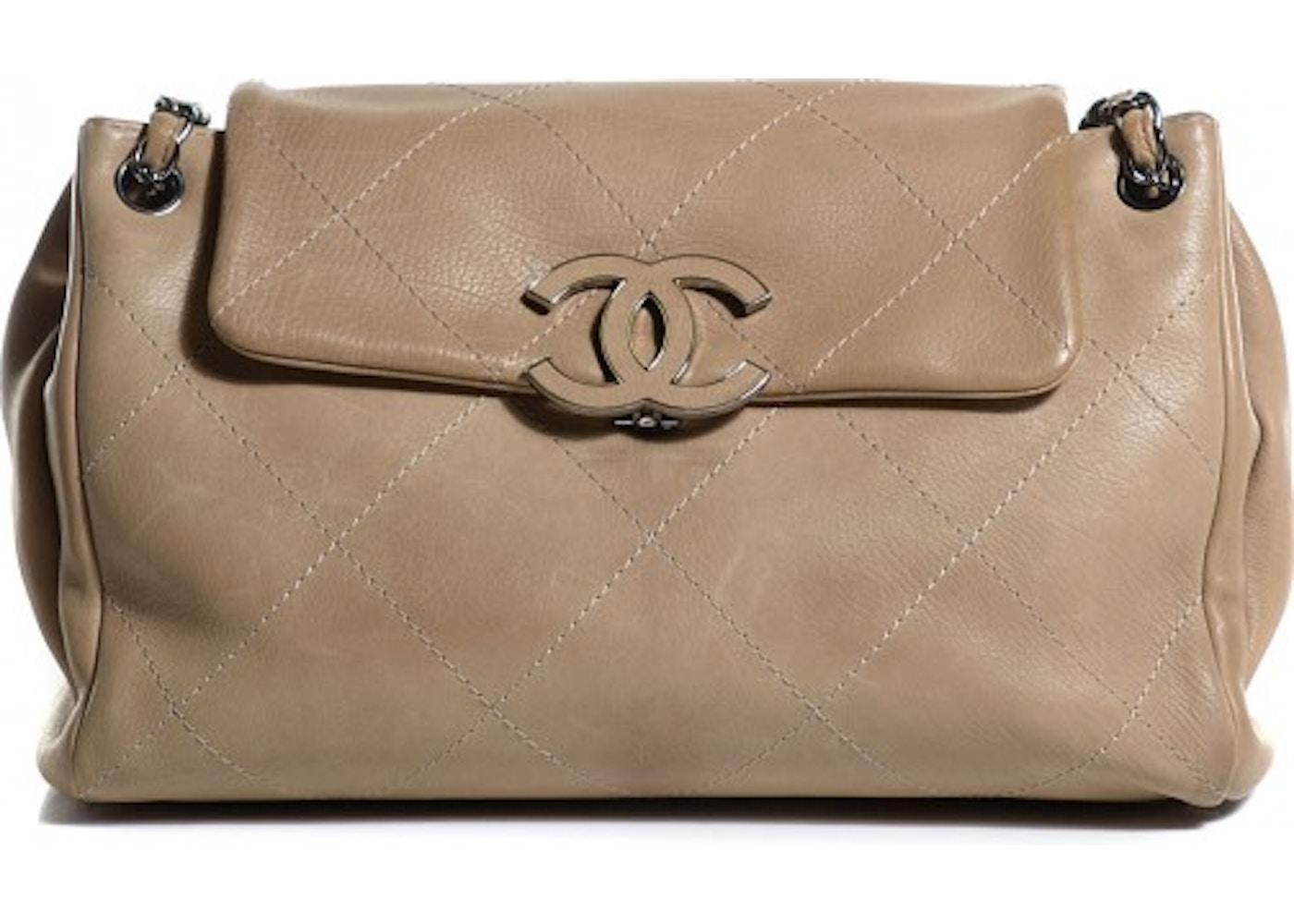abb38f7e971423 Chanel Shoulder Flap Hampton Quilted Large Beige