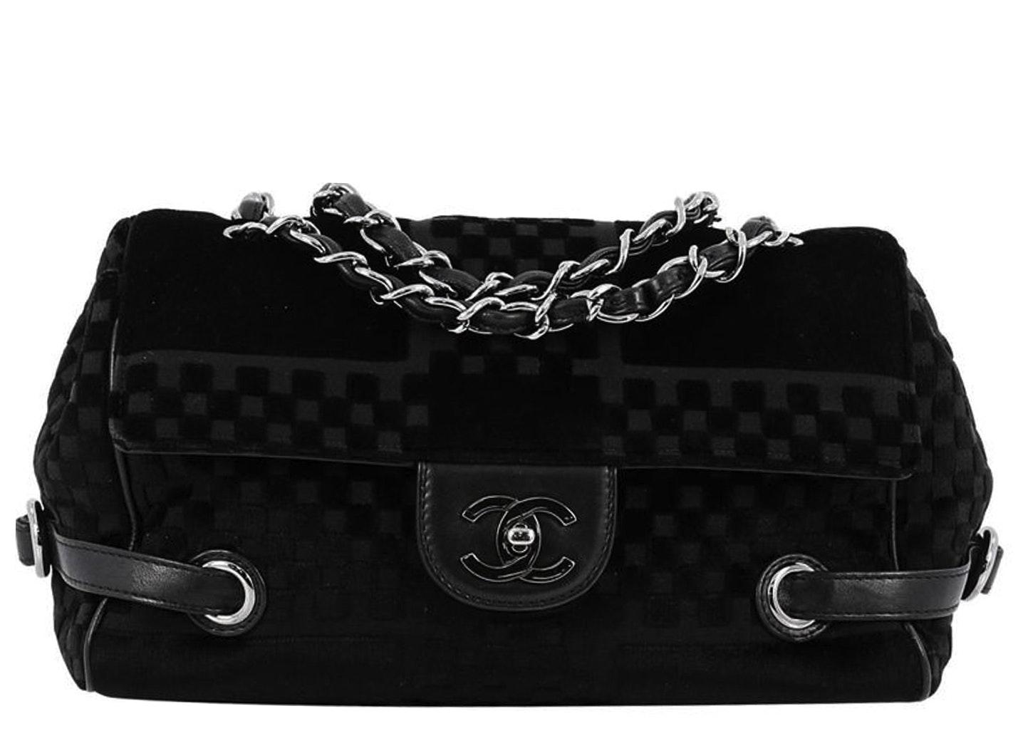 Chanel Side Belted Velvet Me Check Embossed Black