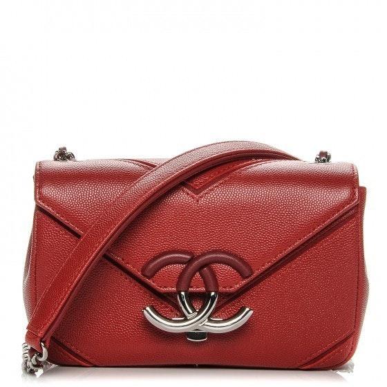 Chanel Single Flap Macro Chevron Small Red