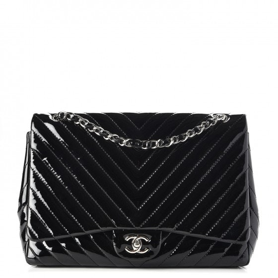 Chanel Single Flap Quilted Chevron Maxi Black