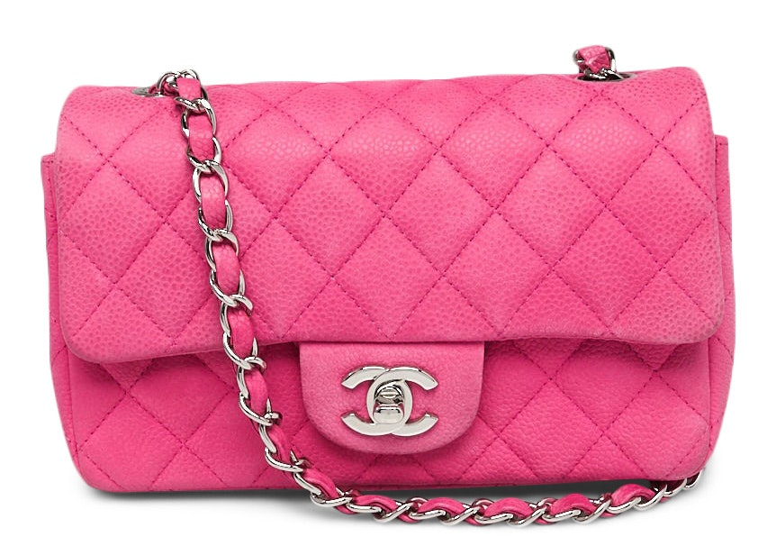 Chanel Single Flap Quilted Diamond New Mini Pink