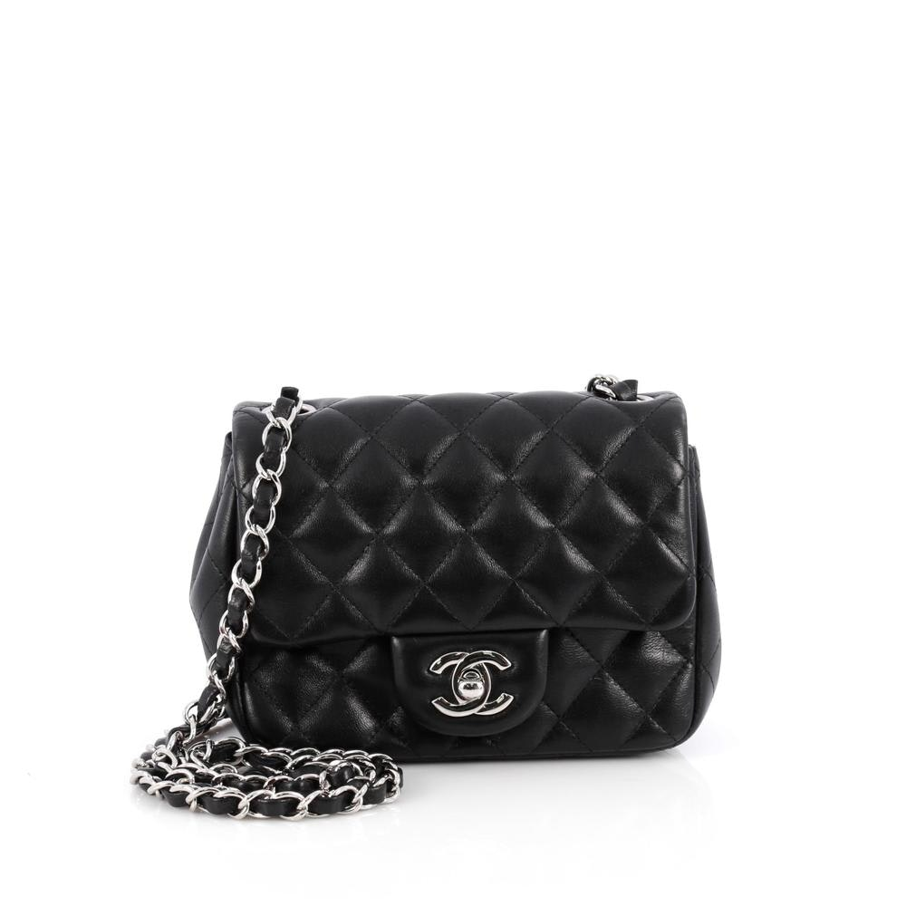 Chanel Square Single Flap Quilted Diamond Mini Black