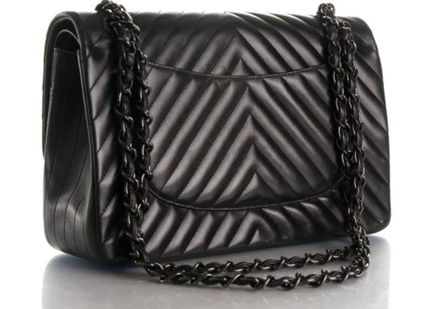 08fc8549e3db Chanel So Black Classic Double Flap Quilted Chevron Jumbo Black