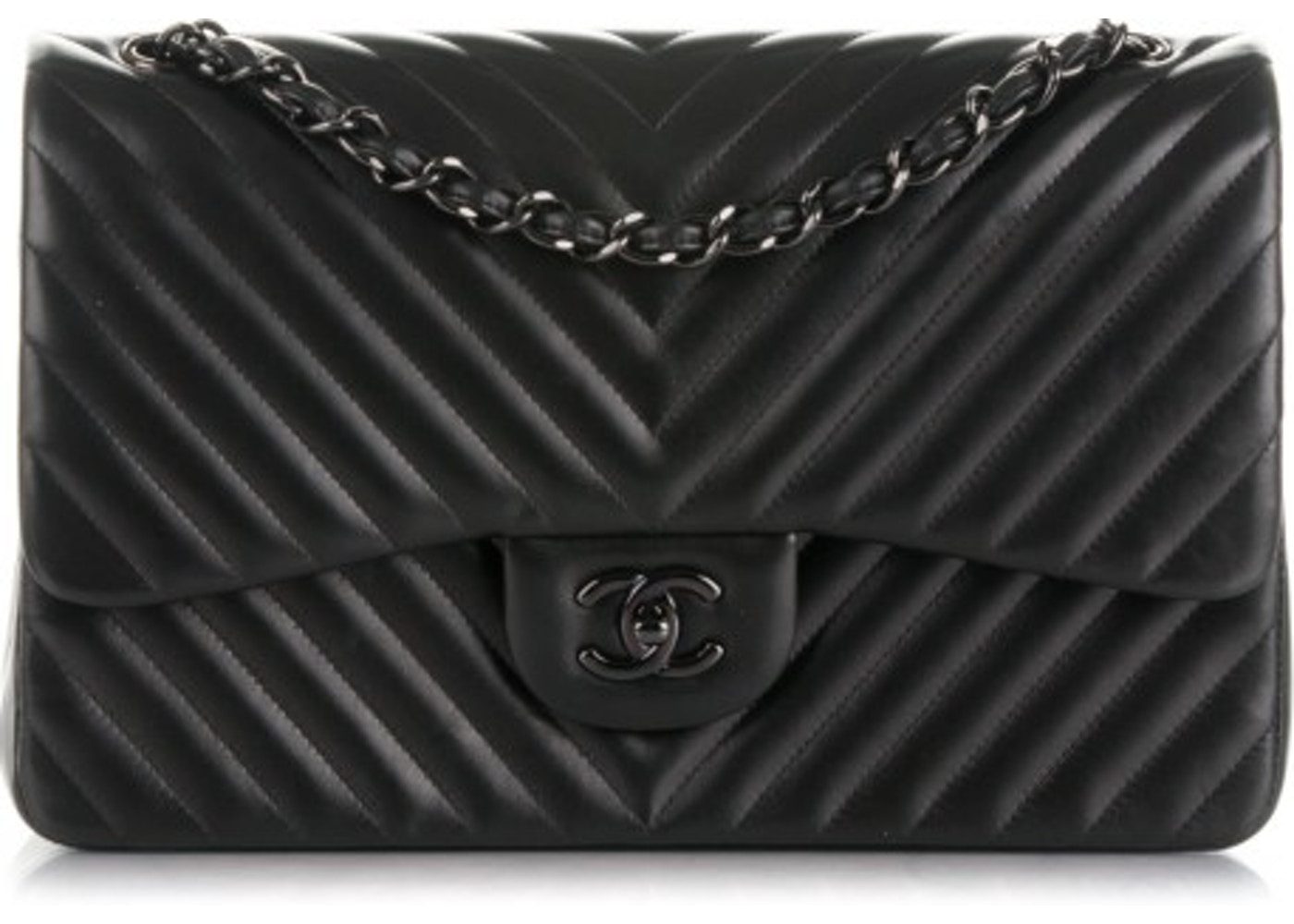 738802099ac2 Chanel So Black Classic Double Flap Quilted Chevron Jumbo Black. Quilted  Chevron Jumbo Black