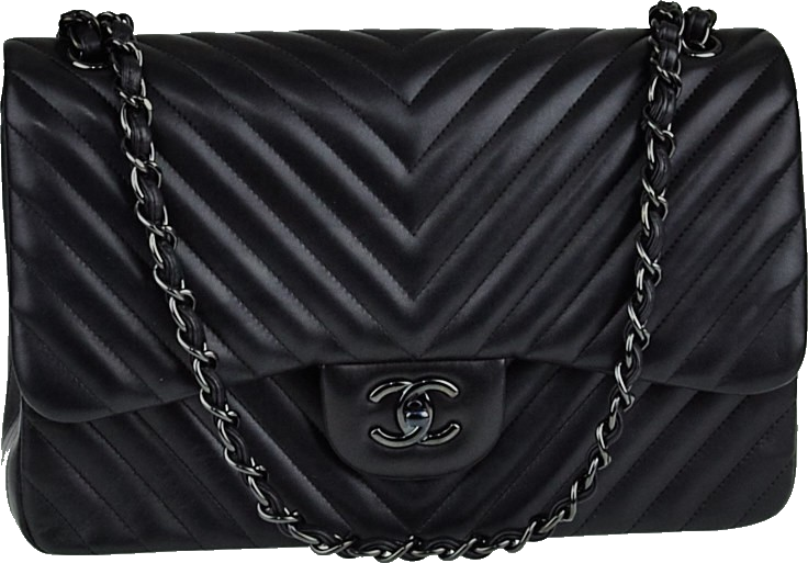 Chanel So Black Classic Double Flap Quilted Chevron Jumbo Black