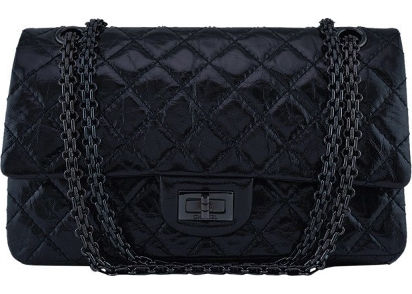 1b7c9ef256bb Chanel Reissue 2.55 Classic Double Flap So Black Quilted Glazed ...