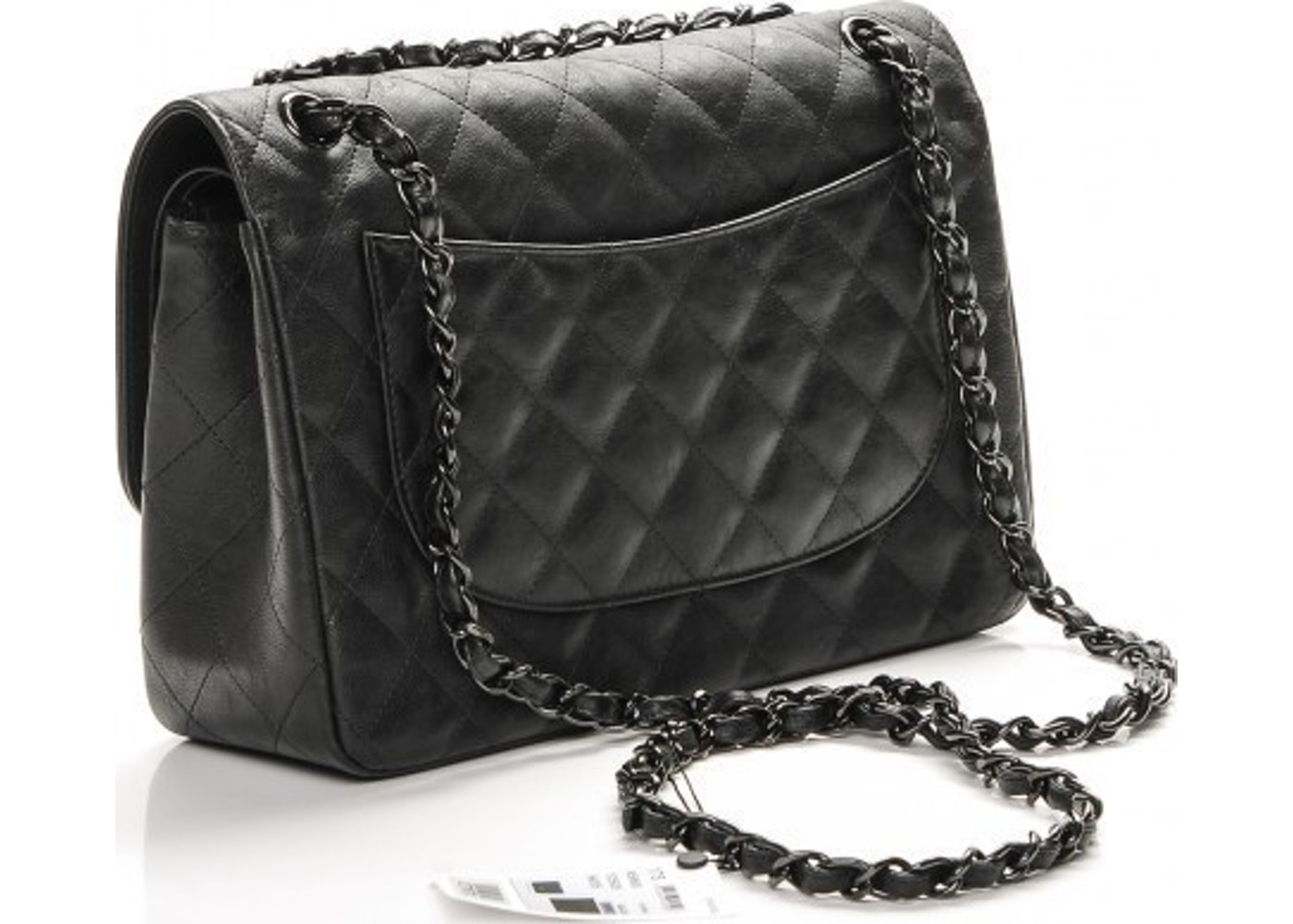 9eeb7a5e1ff1 Chanel Double Flap Classic Flap So Black Quilted Crumple Jumbo Black