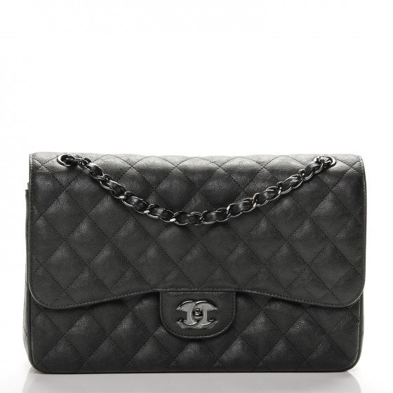 Chanel Double Flap Classic Flap So Black Quilted Crumple Jumbo Black
