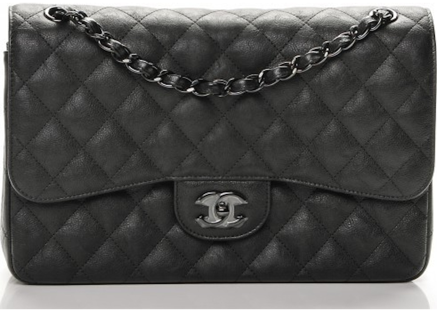 6c45bc6772ff Chanel Double Flap Classic Flap So Black Quilted Crumple Jumbo Black. So  Black Quilted Crumple Jumbo Black