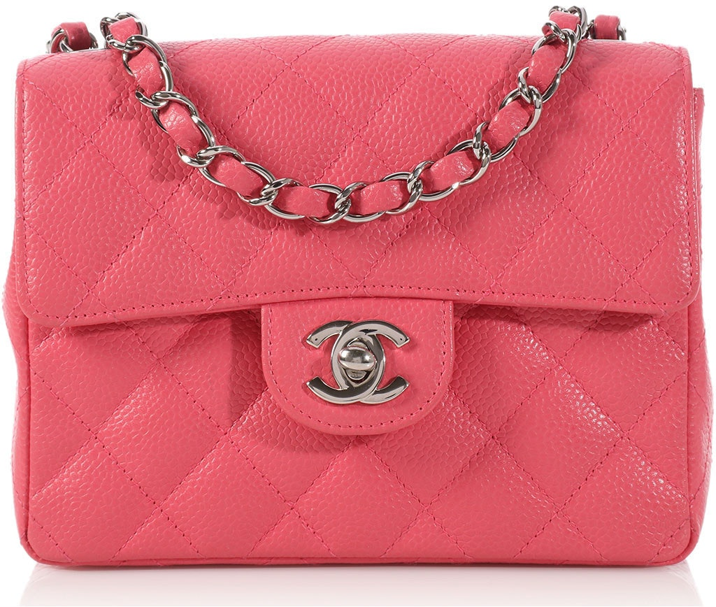 Chanel Square Classic Single Flap Quilted Mini Coral Pink