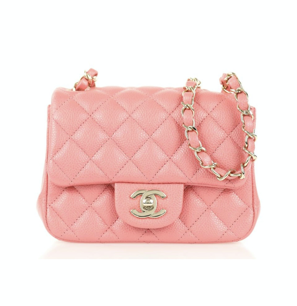 Chanel Square Flap Quilted Caviar Mini Pink