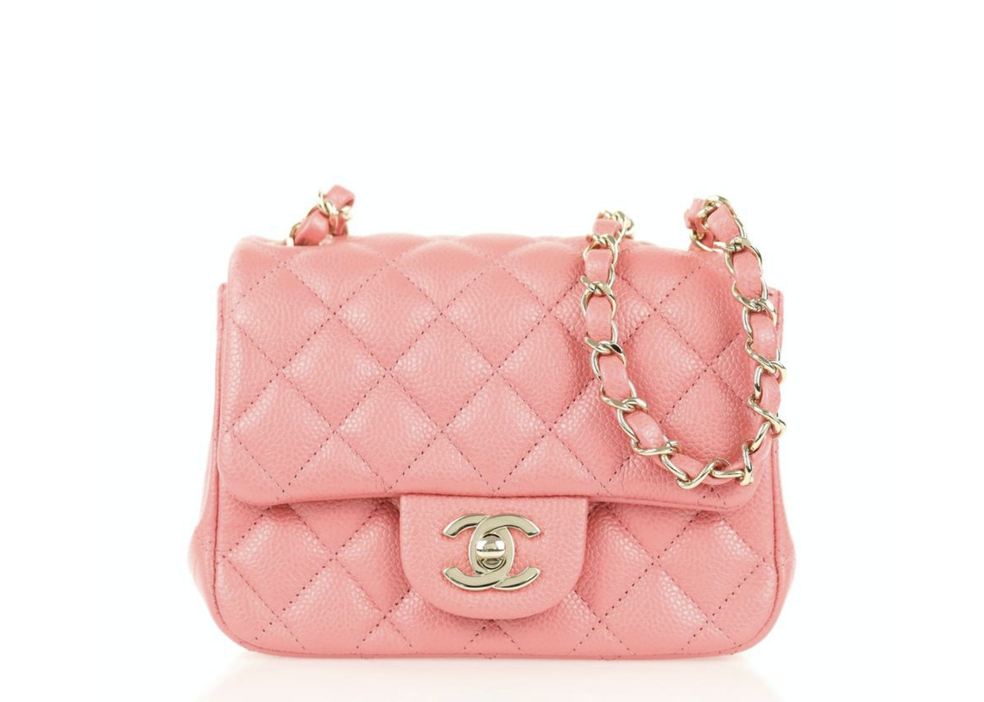 df9ce76950b2 Chanel Square Flap Quilted Caviar Mini Pink