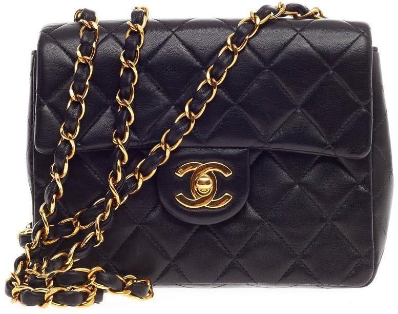 Chanel Square Vintage Classic Single Flap Quilted Mini Black