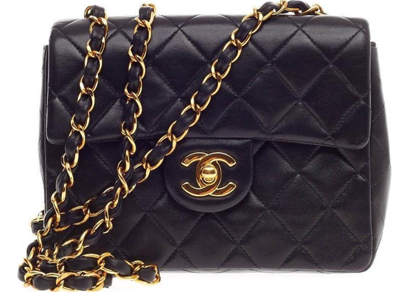 2fa3588ba6ad5e Chanel Square Vintage Classic Single Flap Quilted Mini Black