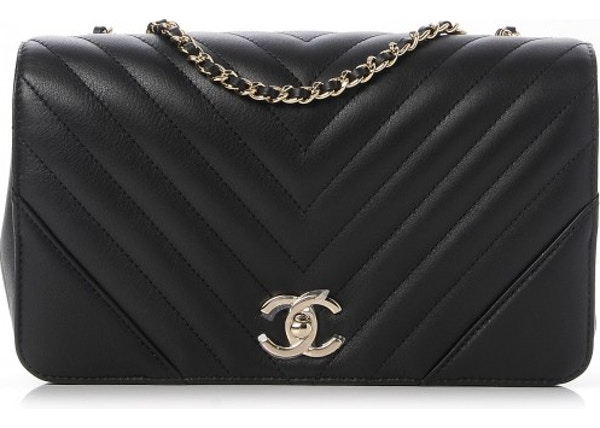 825134ca5089 Chanel Statement Flap Quilted Chevron Metallic Small Black