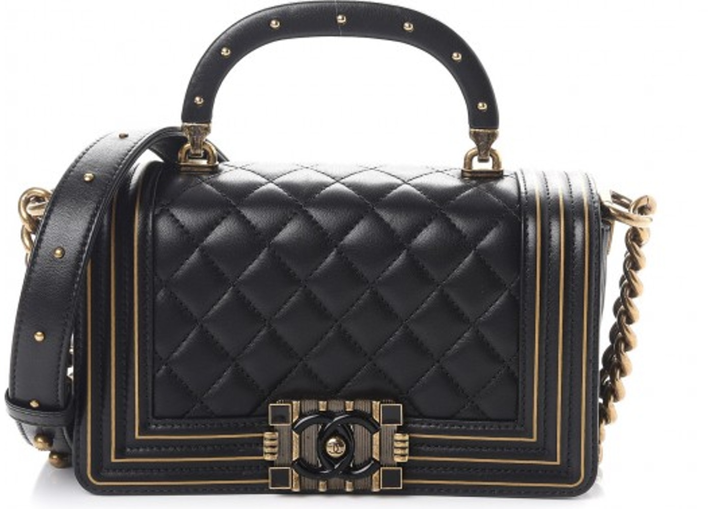 Chanel Studded Handle Flap Boy Quilted Lambskin Aged Gold-tone ... 0cf118f462b2f