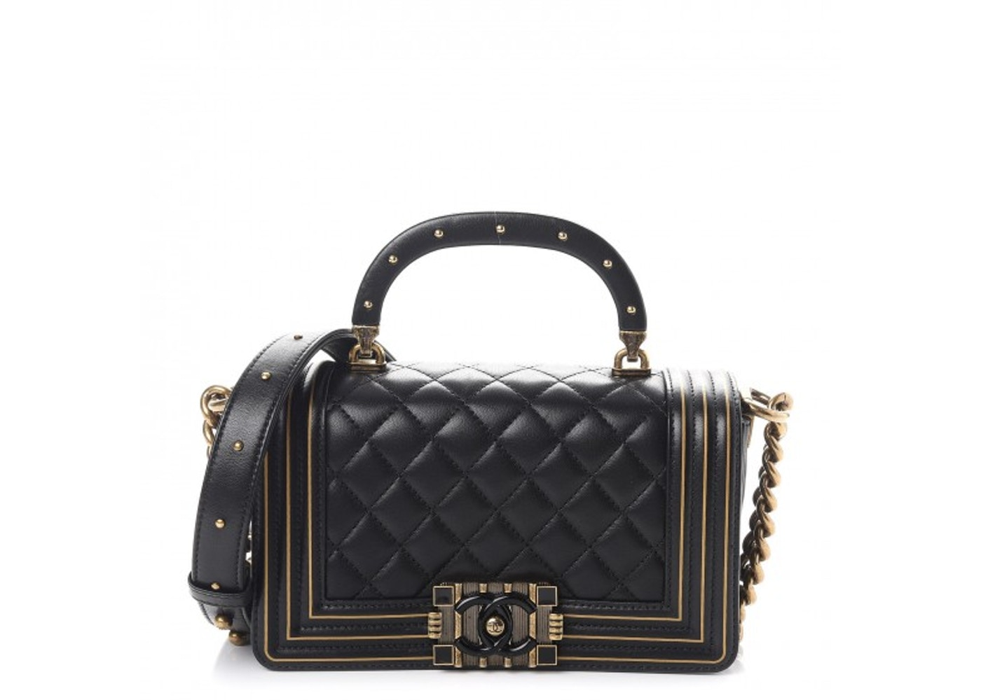 c55ad1742d Chanel Studded Handle Flap Boy Quilted Lambskin Aged Gold-tone ...