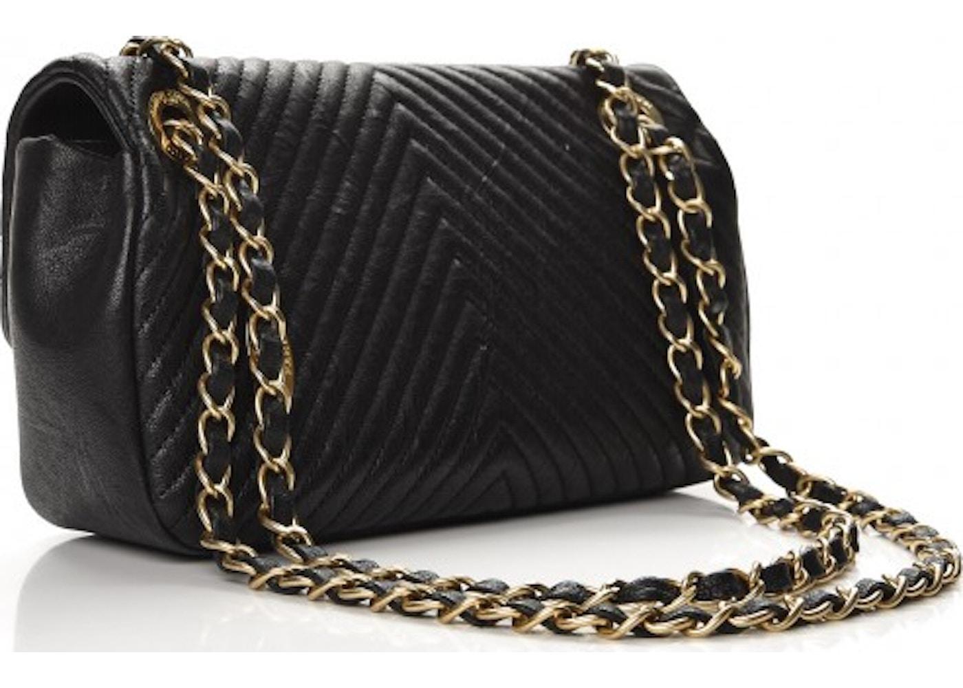 766c238f9b08e2 Chanel Surpique Flap Quilted Chevron Small Black