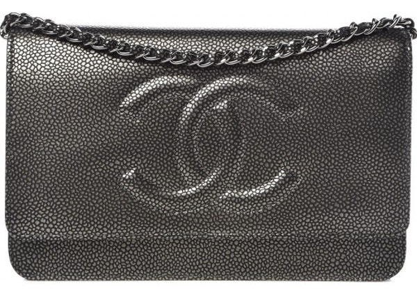 d34f8a00d672 Chanel Timeless Wallet on chain Metallic Dark Silver