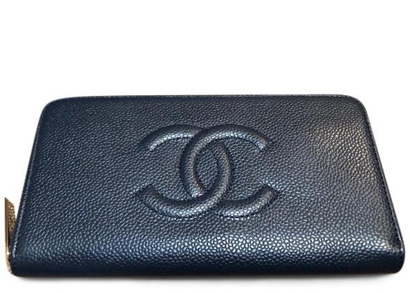 Chanel Timeless Zip Long Wallet Caviar Navy