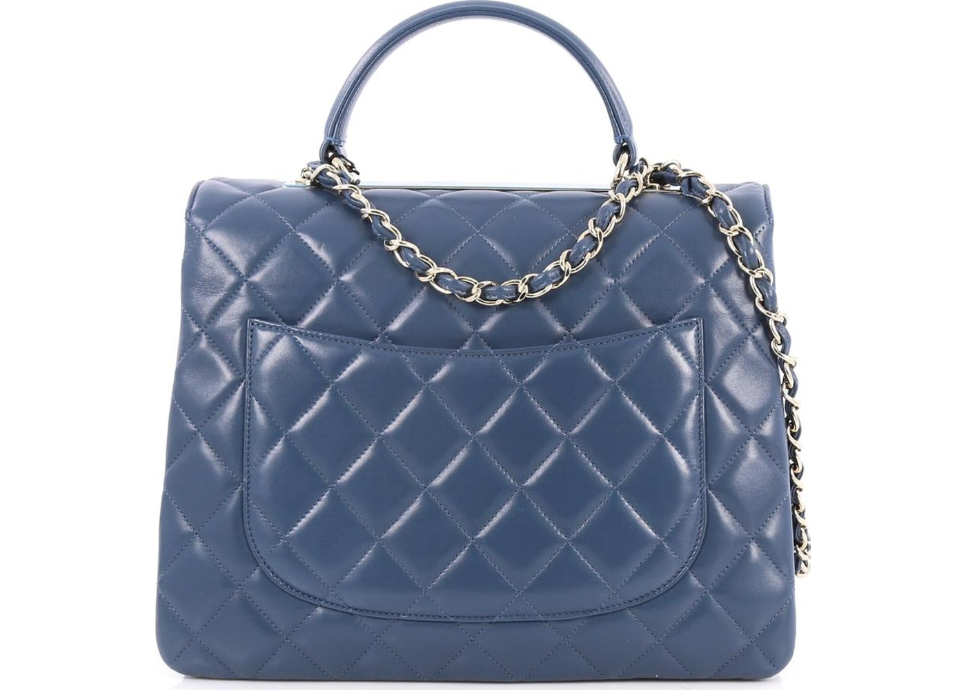 130560f276a6 Chanel Trendy CC Top Handle Diamond Quilted Large Blue
