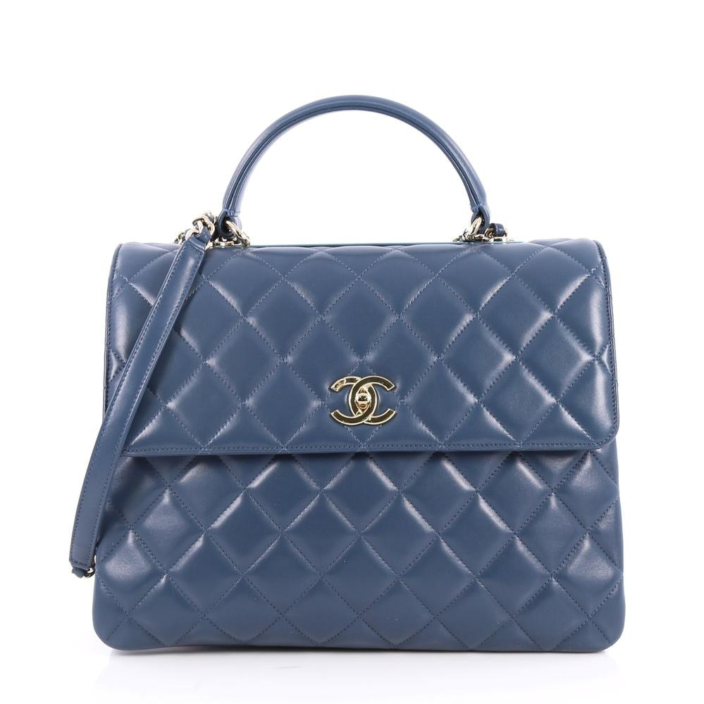 Chanel Trendy CC Top Handle Diamond Quilted Large Blue