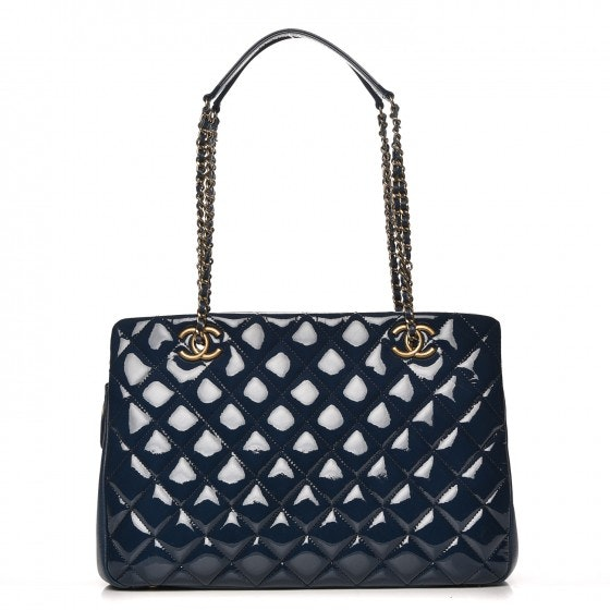 Chanel CC Eyelet Tote Diamond Quilted Small Blue