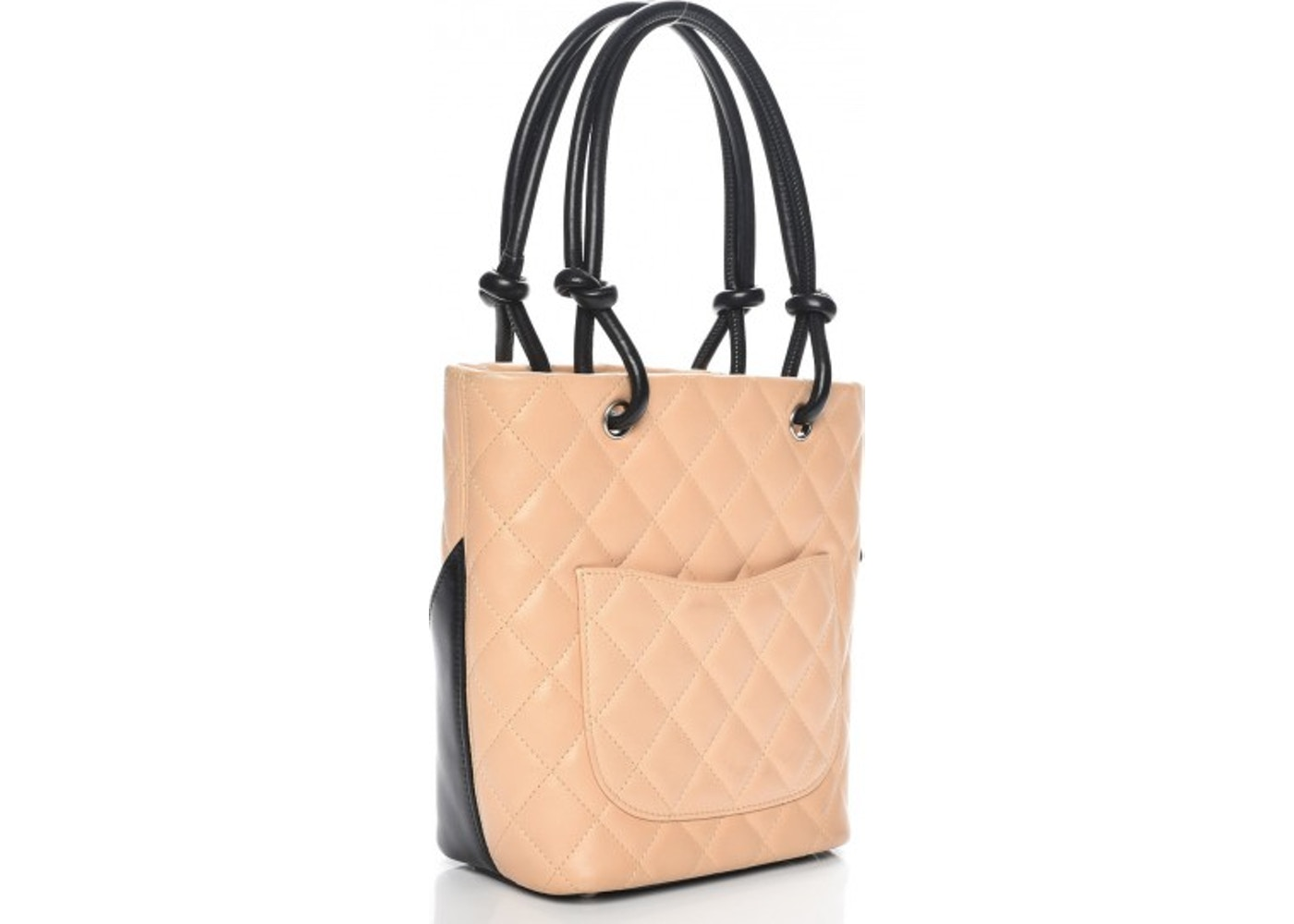 b3887fa59dc5 Chanel Cambon Ligne Tote Quilted Diamond Small Beige/Black