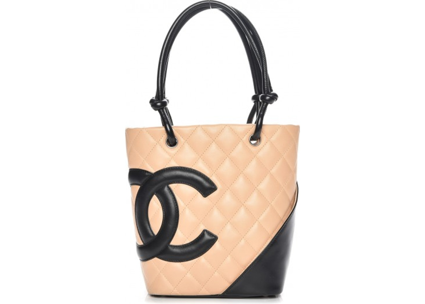 e8e74357723e Chanel Cambon Ligne Tote Quilted Diamond Small Beige/Black. Quilted Diamond  Small Beige/Black