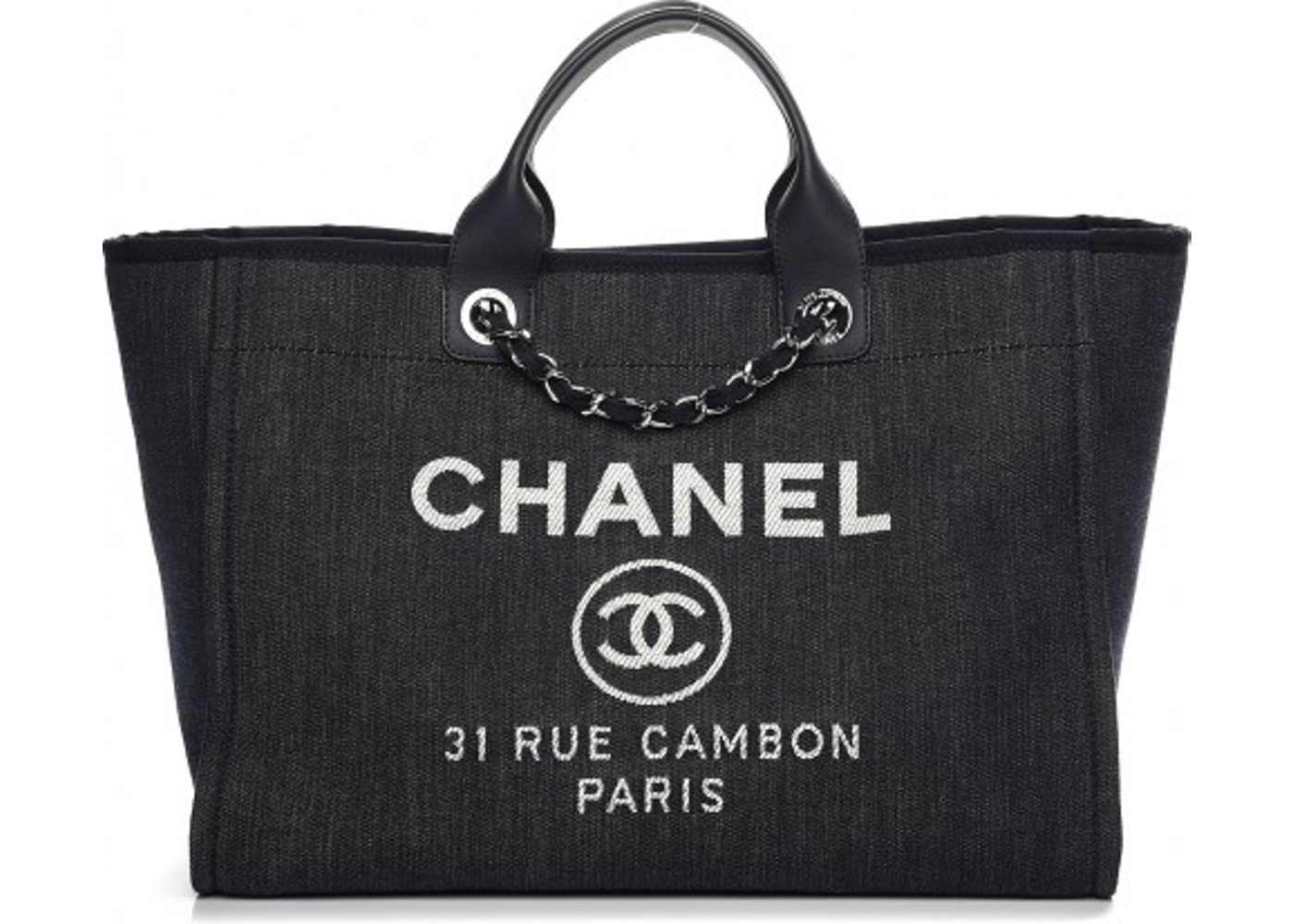 daf2ad36bac7 Chanel Deauville Tote Large Dark Blue. Large Dark Blue