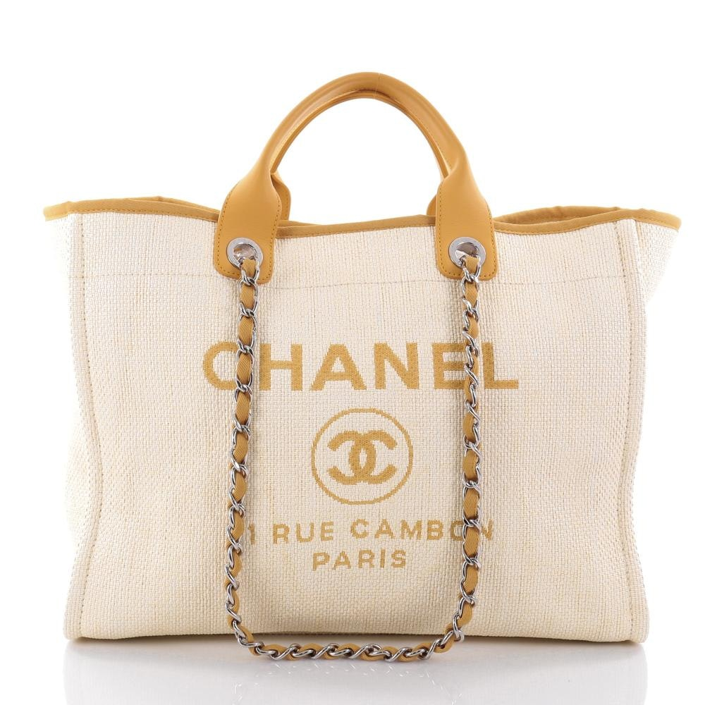 Chanel Deauville Tote Large Creamy/Yellow
