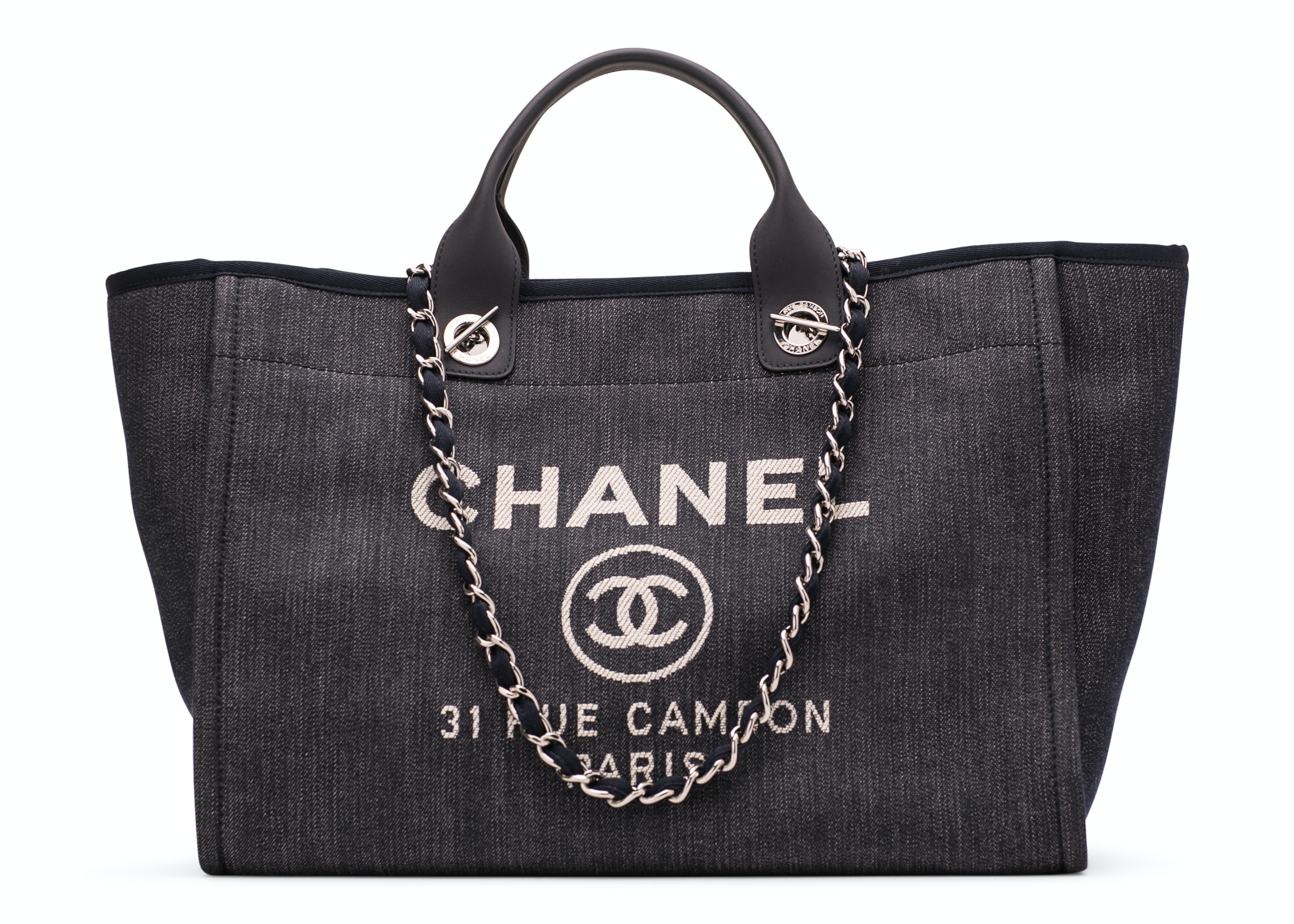 Chanel Deauville Tote Large Dark Blue