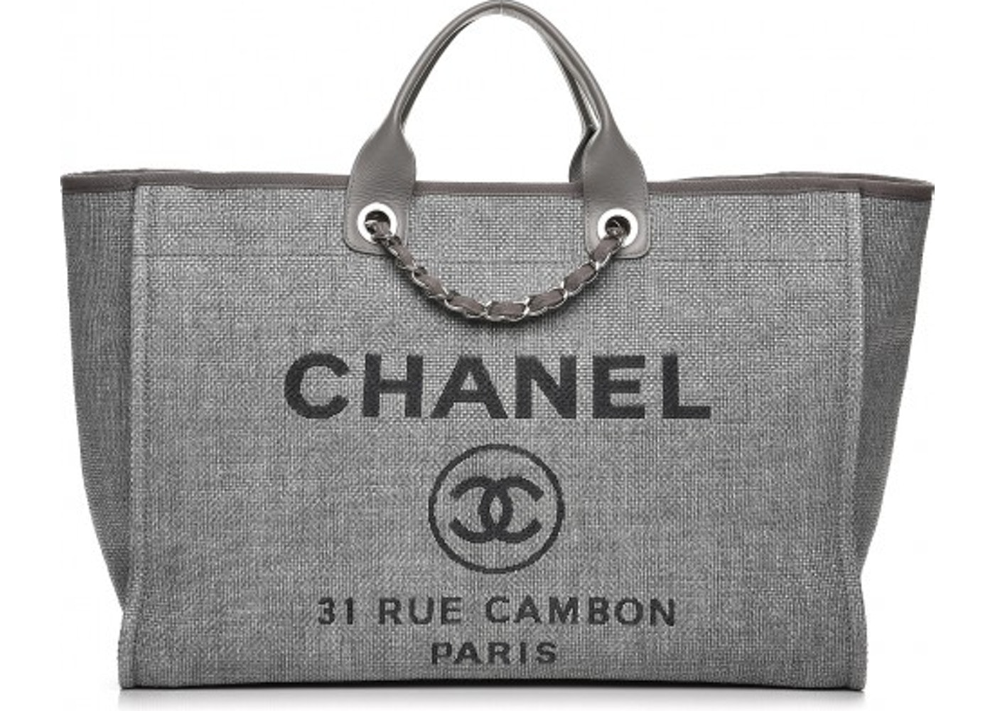 7daf407c32ad Chanel Deauville Tote Woven Large Grey. Woven Large Grey