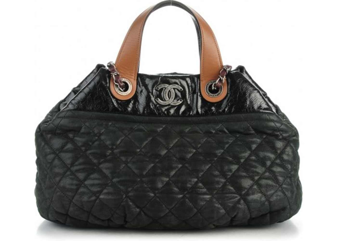 601d1eb63376 Chanel Tote In the Mix Quilted Iridescent Small Black Dark Green