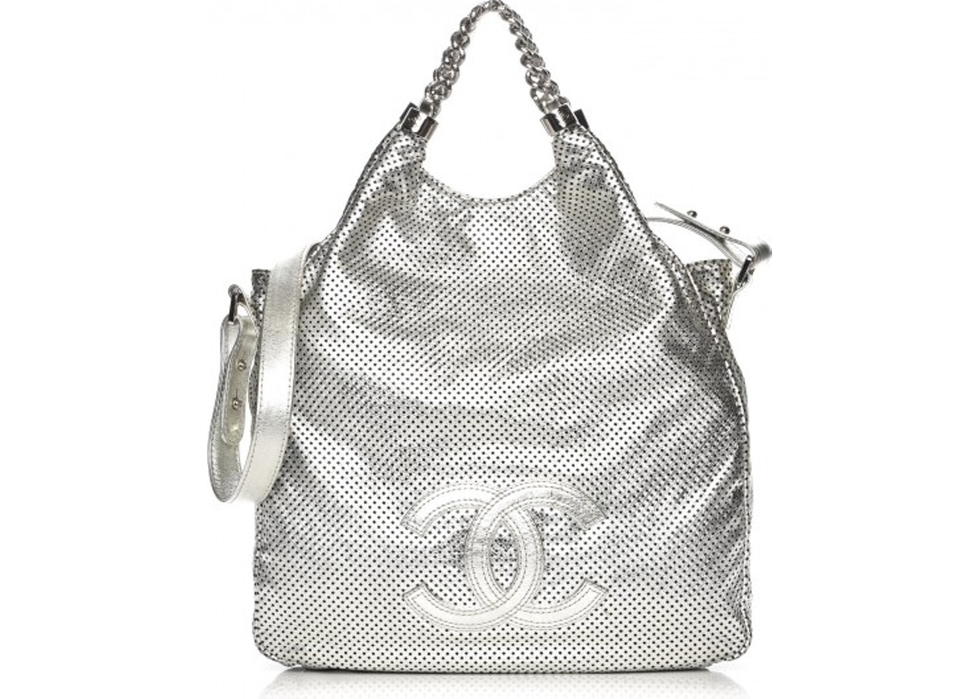 2ccf6bbbf62e Chanel Rodeo Drive Tote Perforated Metallic Large Silver. Perforated  Metallic Large Silver