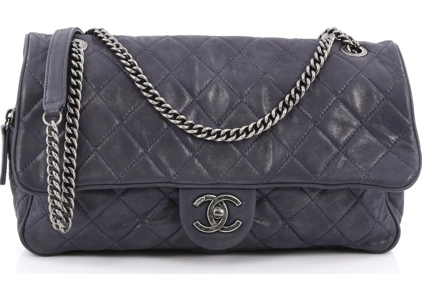 353be54f4963 Chanel Shiva Large Flap Quilted Diamond Iridescent Large Blue Grey