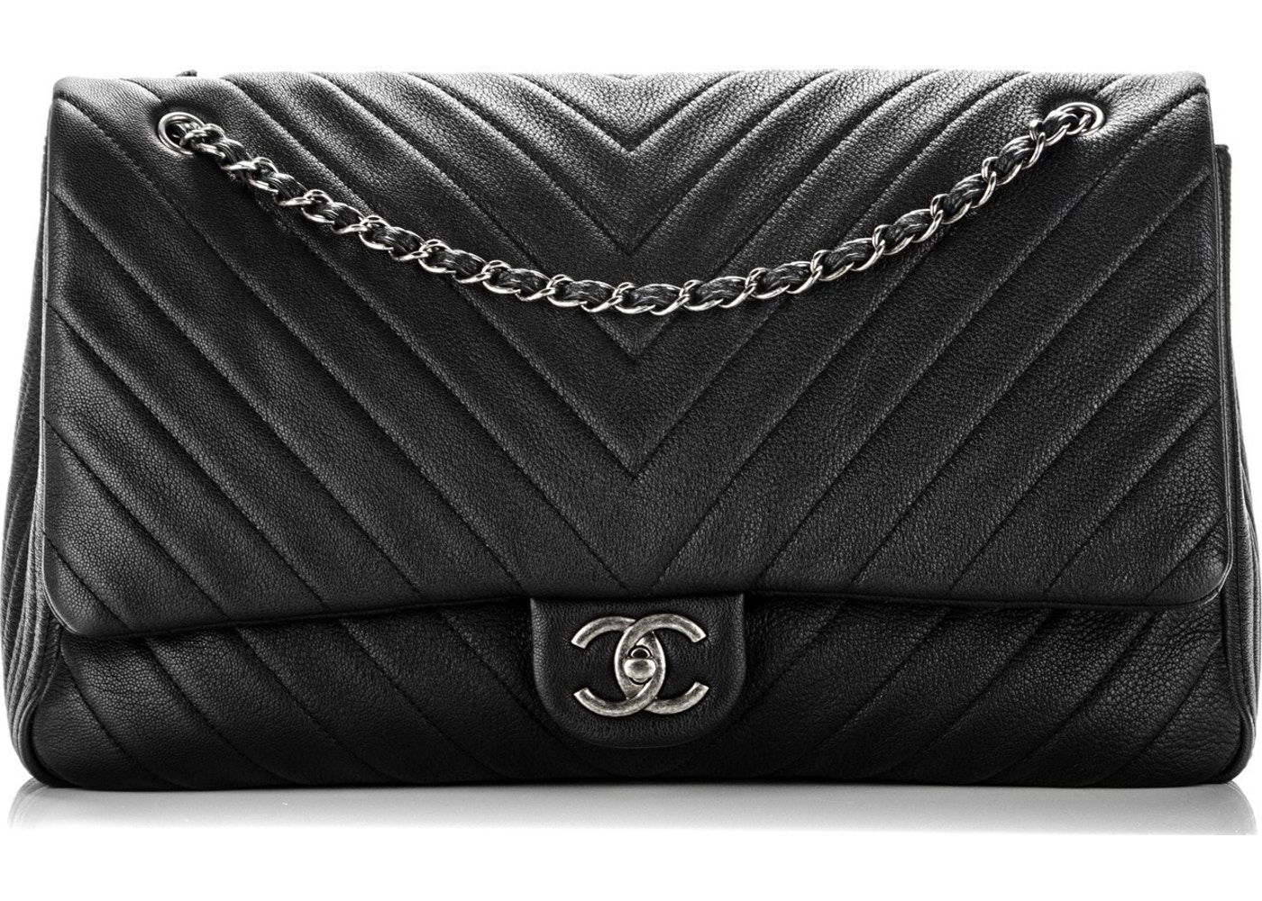 fc6ebd098c956c Chanel Travel Flap Quilted Chevron XXL Black. Quilted Chevron XXL Black
