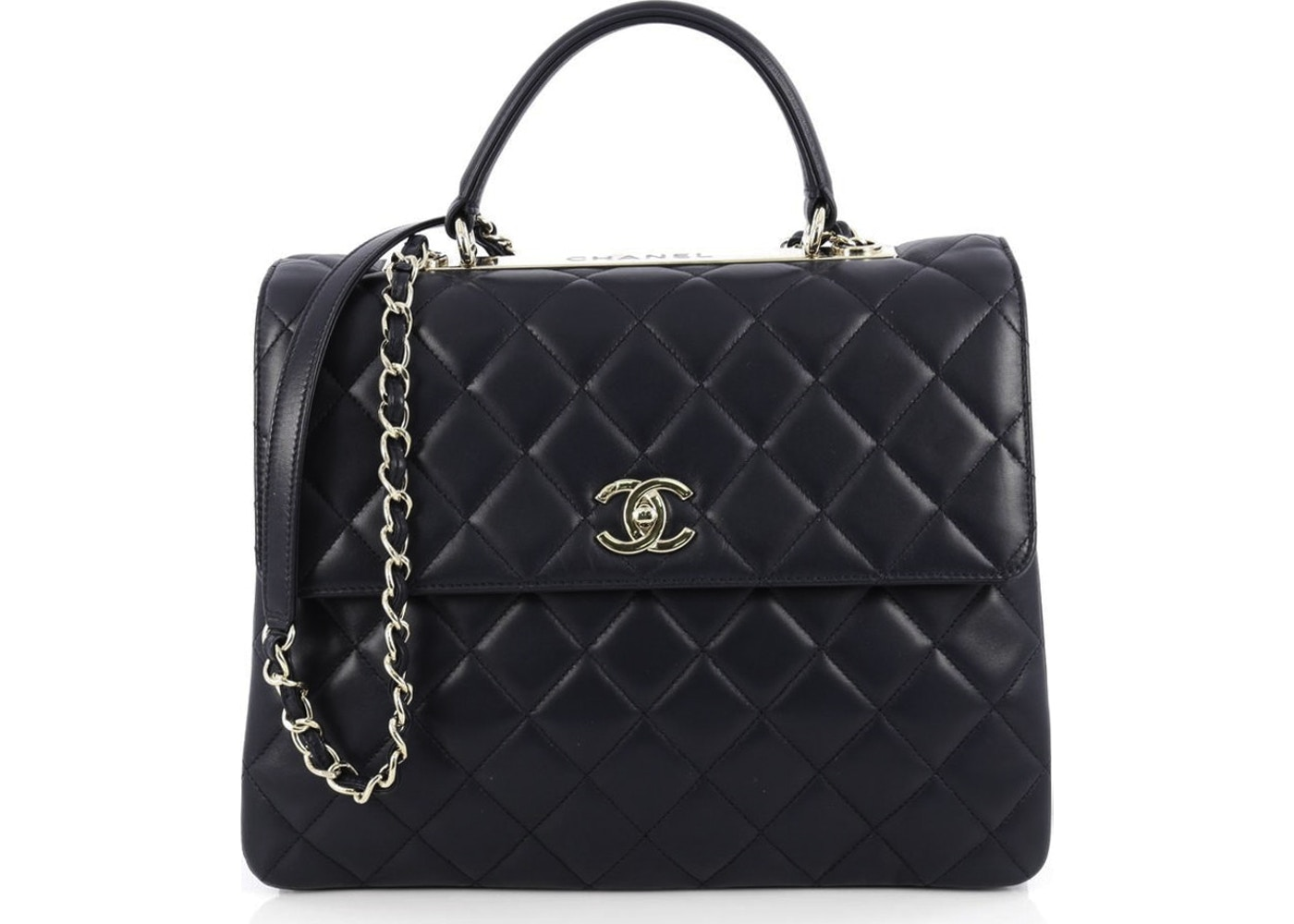 aac996edd7e08 Chanel Trendy CC Top Handle Quilted Diamond Large Navy Blue. Quilted  Diamond Large Navy Blue