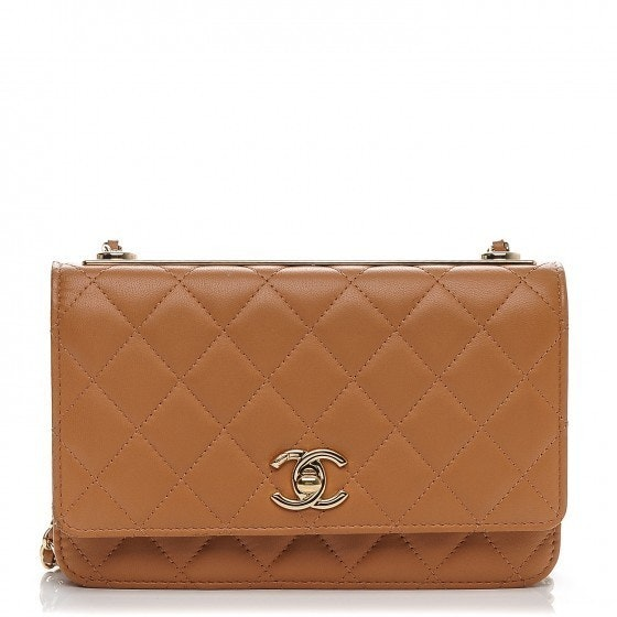 Chanel Trendy CC Wallet On Chain Diamond Quilted  Camel